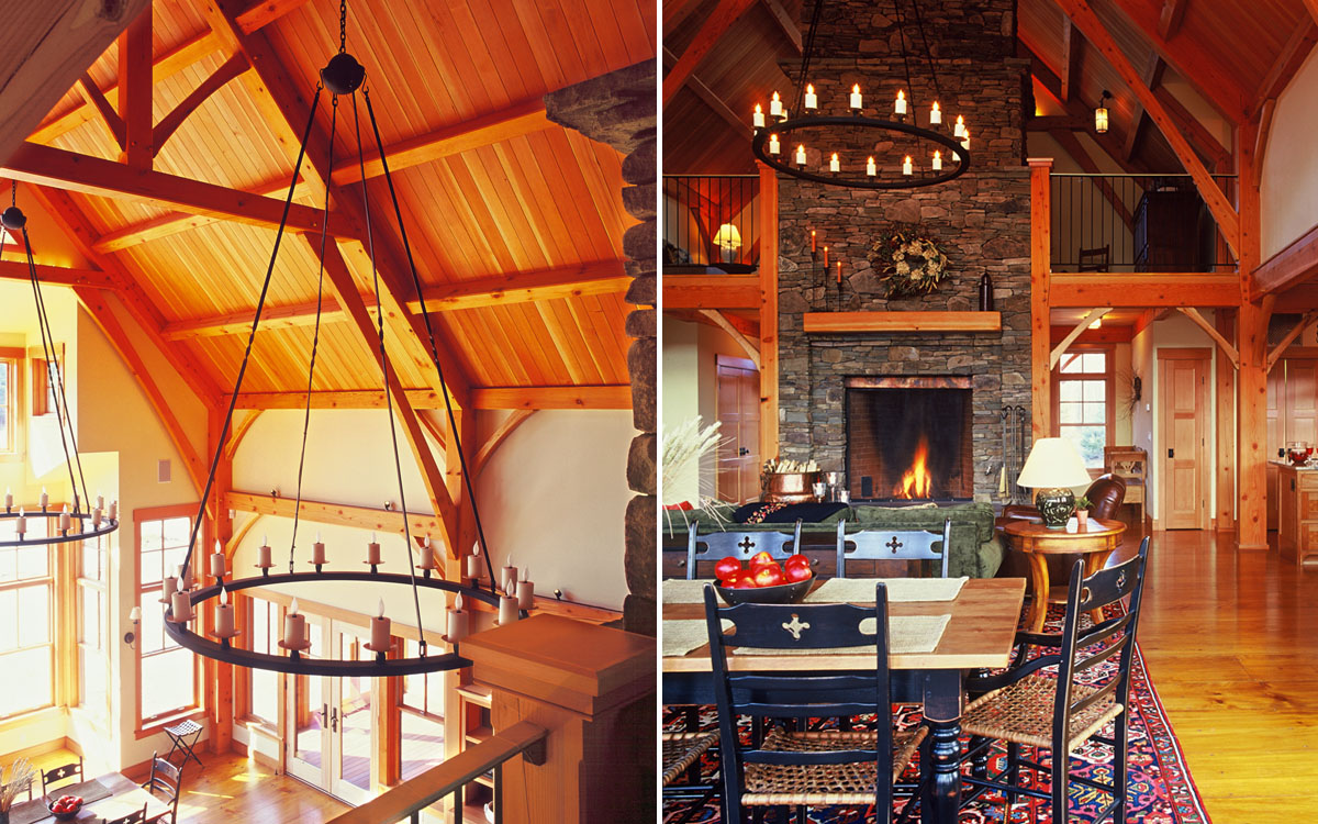 Interiors timber frame mountain home truexcullins Mountain home interiors