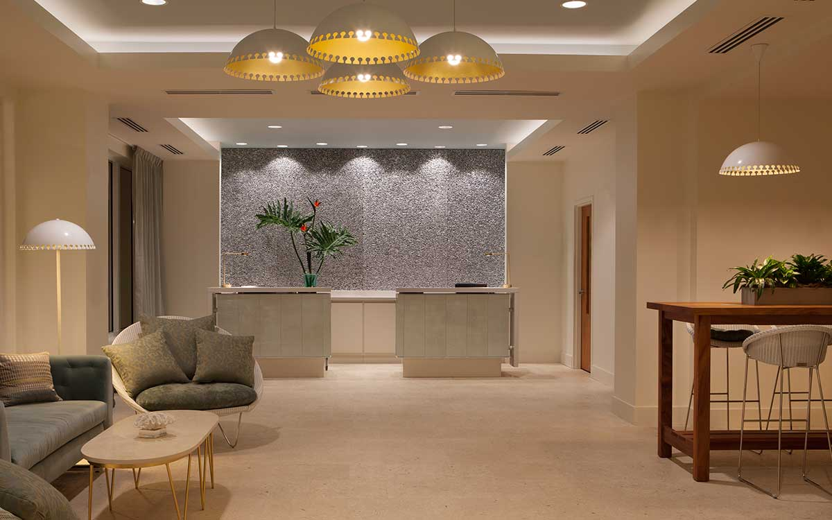 Lobby with water wall